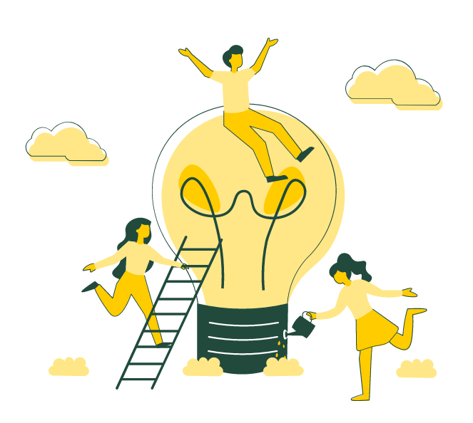 visuel équipe qui développe leur idée